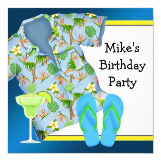 Mans BBQ Margarita Beach Birthday Party Card