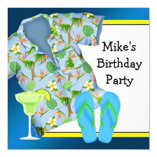 Mans BBQ Margarita Beach Birthday Party Invitation