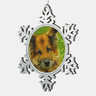 Man's Best Friend #2 Snowflake Pewter Christmas Ornament