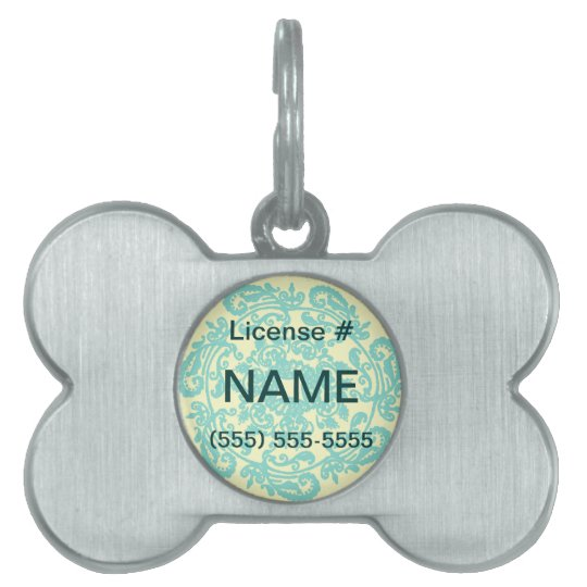 Man's Best Friend Teal & Yellow Damask Silver - Pet Tag