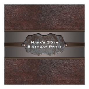 Mans Birthday Party Brown Leather Invitation