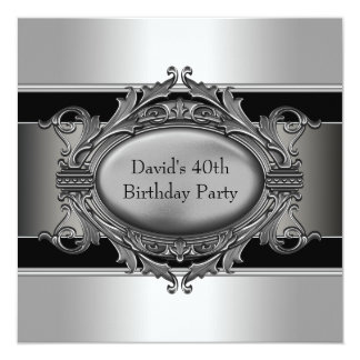 Mans Black 40th Birthday Party Card