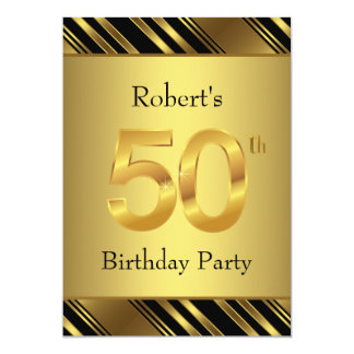 Mans Black and Gold 50th Birthday Party Card