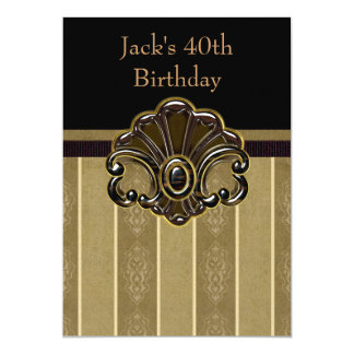 Mans Black and Gold Birthday Party Card