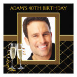 Mans Black and Gold Birthday Party Custom Invitations