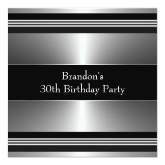 Mans Black and Silver Birthday Party Card