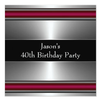 Mans Black Red Silver Classy 40th Birthday Party Card
