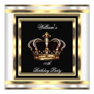 Mans Black Silver White Gold Birthday Prince King Card