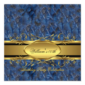 Mans Blue Black Gold Birthday Party Men's 2 Card