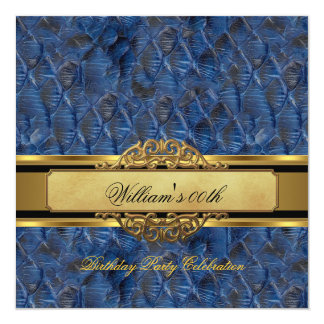 Mans Blue Black Gold Birthday Party Mens Card