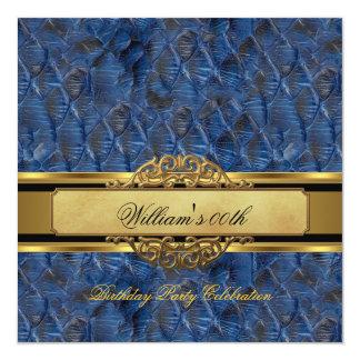 Mans Blue Black Gold Birthday Party Mens Invitation