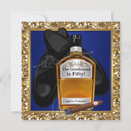 Mans Blue Gold Aged To Perfection Birthday Party Invitation