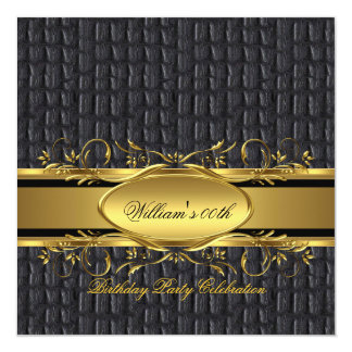 Mans Brown Black Gold Birthday Party Men's Card