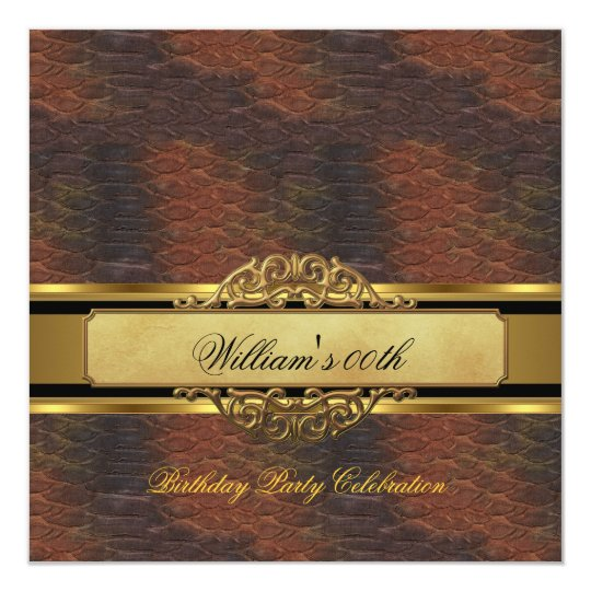 Mans Brown Black Gold Birthday Party Mens Card