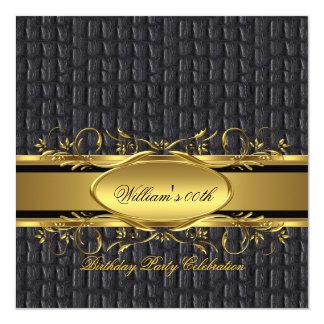 Mans Brown Black Gold Birthday Party Men's Invitation