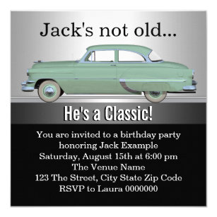Mans Classic Car Birthday Party Invitation