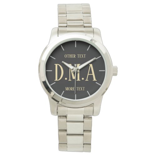 Man's Custom Watch, Add Initials and Text Wristwatch