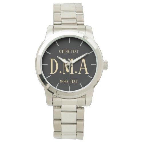 Man's Custom Watch, Add Initials and Text Wristwatch