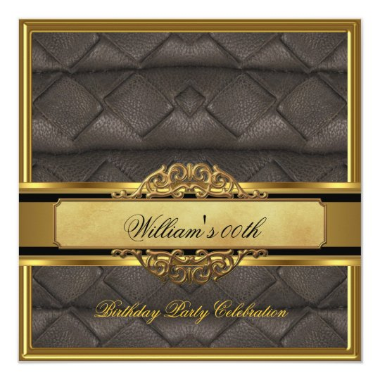 Mans Elegant Black Gold Birthday Party Mens Card