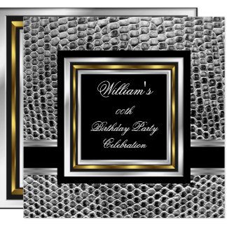 Mans Elegant Black Gold Silver Birthday Party Mens Card