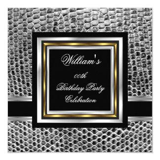 Mans Elegant Black Gold Silver Birthday Party Mens Card