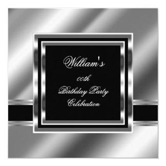 Mans Elegant Black Silver Birthday Party Mens 2 Card
