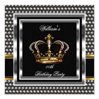Mans Elegant Black Silver Birthday Prince King Card