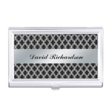 Professional Business Man's Elegant Black Silver Business Card Holder