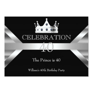 Mans Elegant Black Silver Prince King Birthday Card