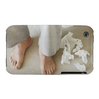 Man's feet surrounded by crumpled tissues iPhone 3 cover