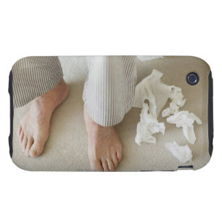 Man's feet surrounded by crumpled tissues iPhone 3 tough case