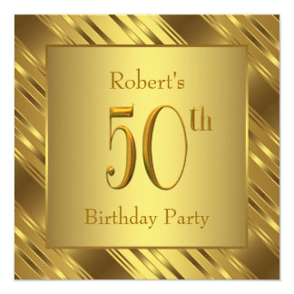 Mans Gold 50th Birthday Party Card
