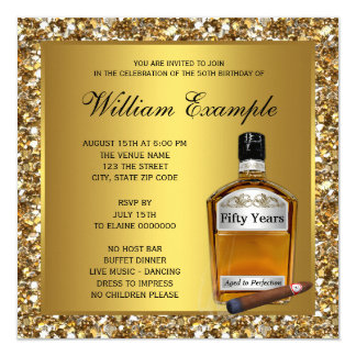 Mans Gold Aged To Perfection Whiskey Birthday Card