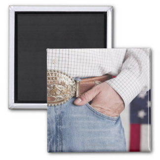 Man's hand in the pocket of his jeans 2 inch square magnet