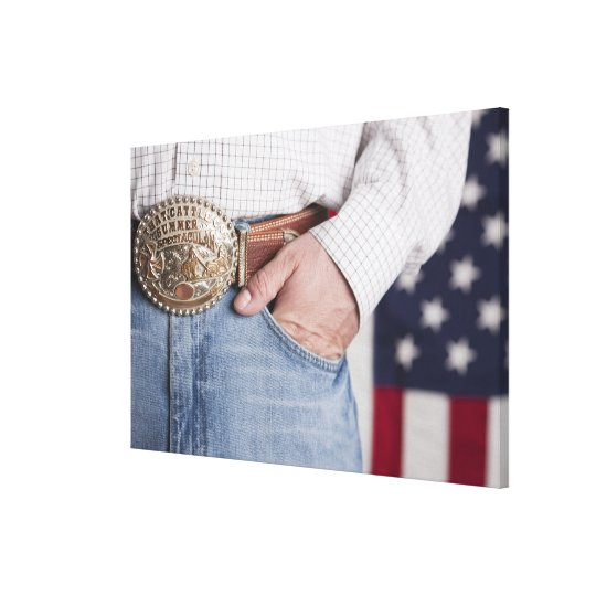 Man's hand in the pocket of his jeans canvas print