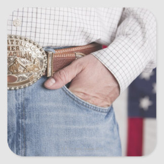Man's hand in the pocket of his jeans square sticker