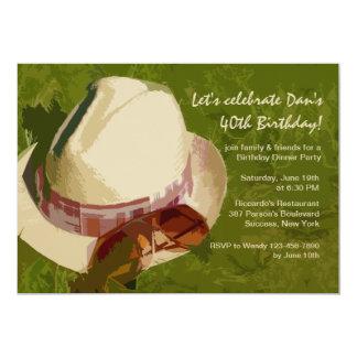 "Man's Hat Birthday Party Invitation 5"" X 7"" Invitation Card"