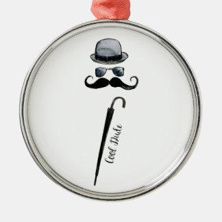 """Man's Hat Mustache Umbrella """"cool dude"""" Metal Ornament"""