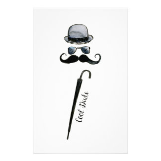 "Man's Hat Mustache Umbrella ""cool dude"" Stationery"