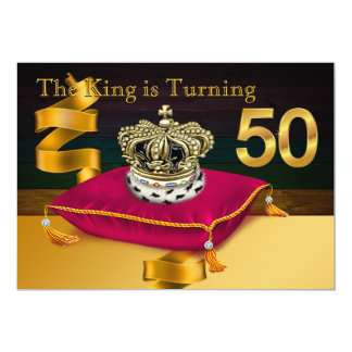 Mans King Theme 50th Birthday Party Card