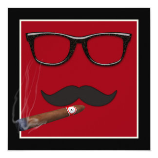 Mans Mustache Birthday Party Card