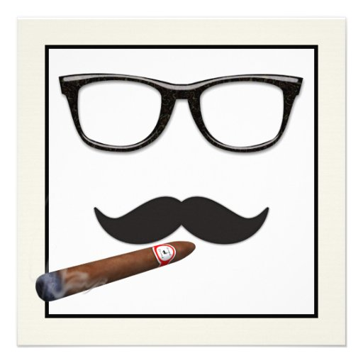 Mans Mustache Birthday Party Custom Announcement from Zazzle.com