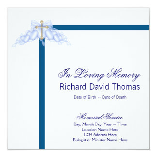Mans Navy Blue Cross Mourning Card