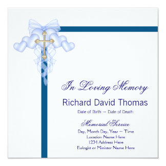 Mans Navy Blue Mourning Cards