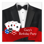Mans Poker Birthday Party Announcement Card