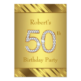 Mans Pure Gold 50th Birthday Party Card
