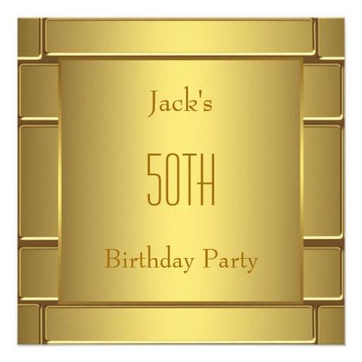 Mans Pure Gold 50th Birthday Party Custom Invitations