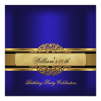 Mans Royal blue Gold Birthday Party Mens 5.25x5.25 Square Paper Invitation Card