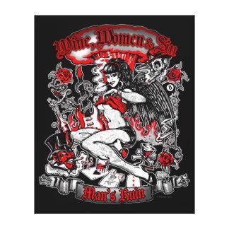 Man's Ruin: Wine Women & Sin Canvas Print