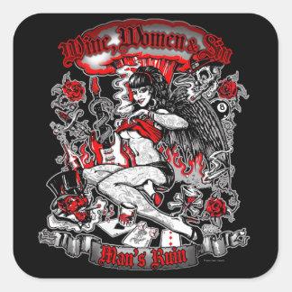 Man's Ruin: Wine Women & Sin Square Sticker